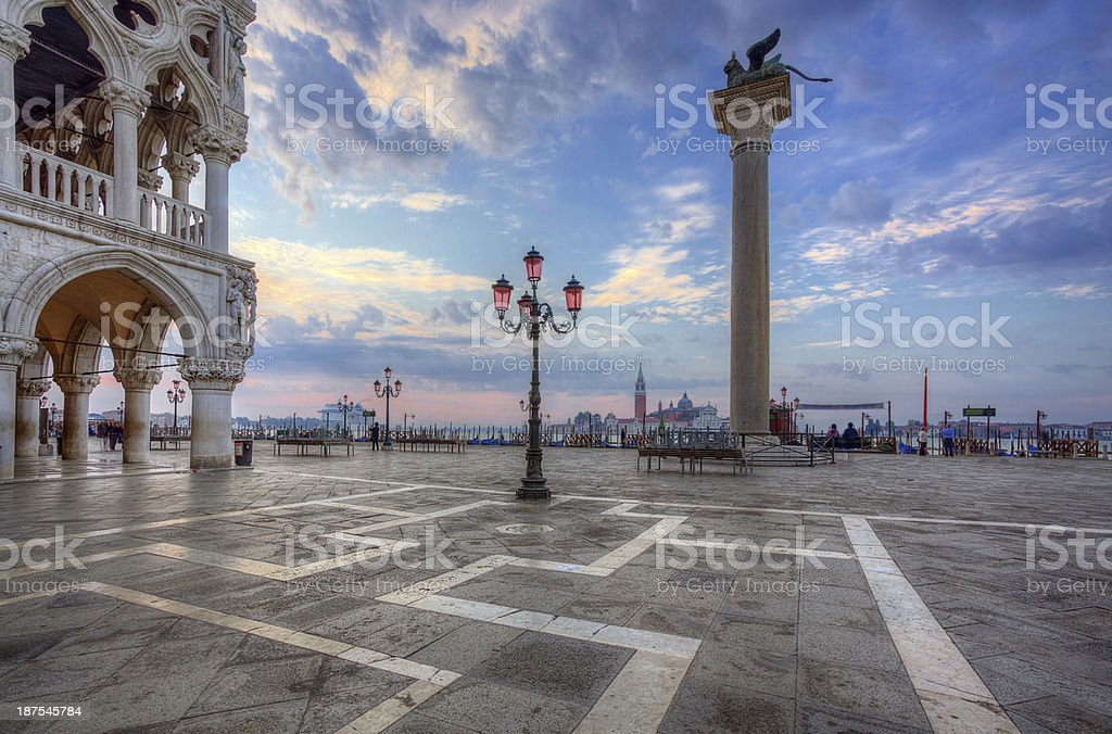 Empty San Marco Square in Venice, Italy at sunrise royalty-free stock photo