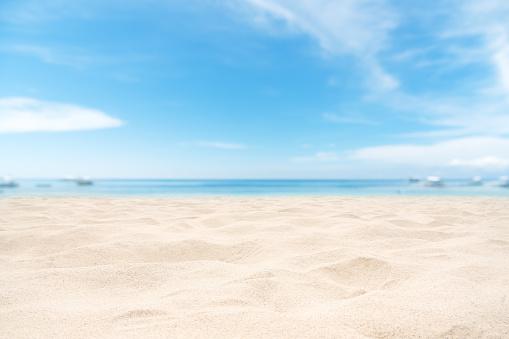 Empty sand beach with clear sky background