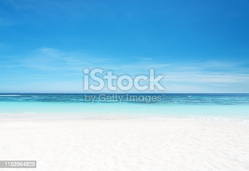 istock Empty sandy beach and sea with clear sky background 1153964825