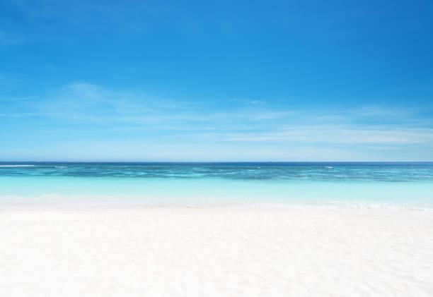 leeg zandstrand en zee met heldere hemel achtergrond - strandvakantie stockfoto's en -beelden