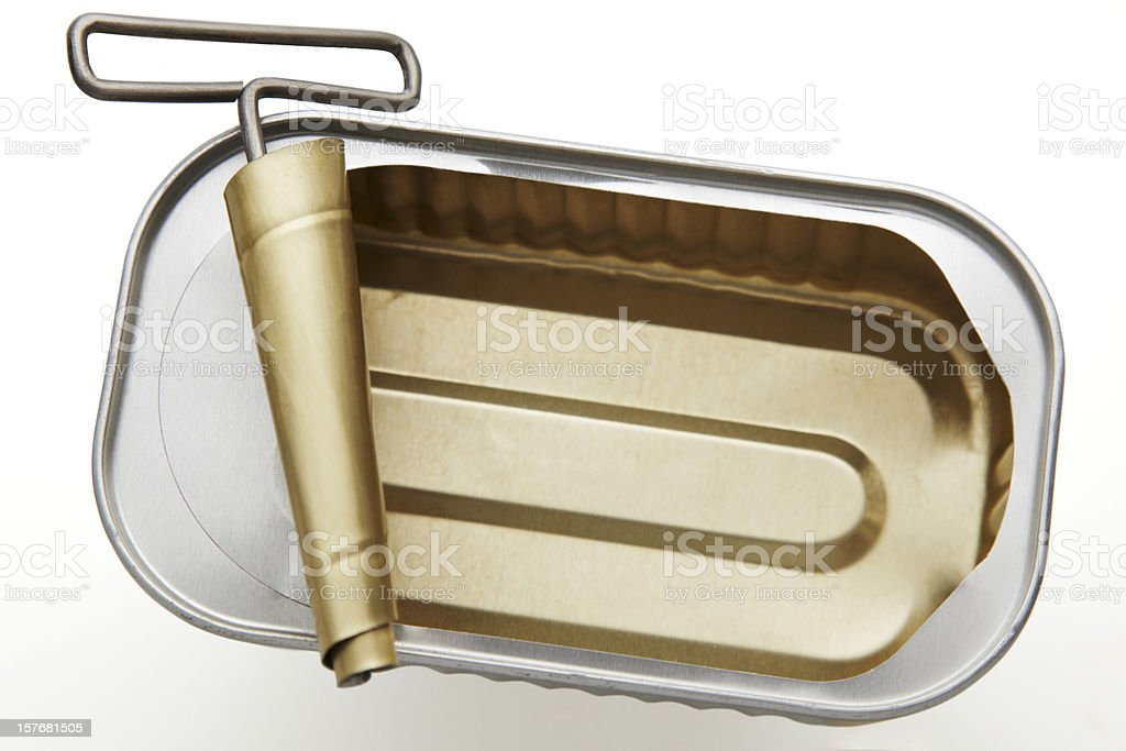 Empty sardine can royalty-free stock photo