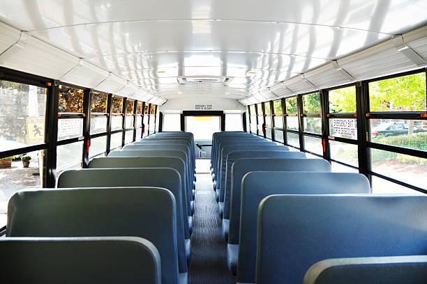 Empty School Bus stock photo