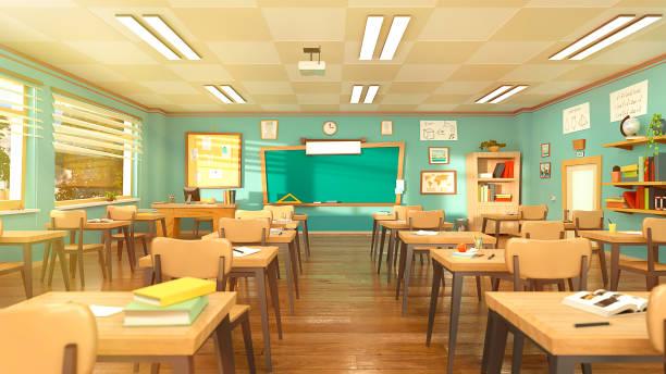 漫画スタイルで空の学校の教室。学生のいない教育コンセプト。3d レンダリングの内部イラスト。学校のデザイン テンプレートに戻ります。コロナウイルスcovid-19の検疫教室。 - 教室 ストックフォトと画像