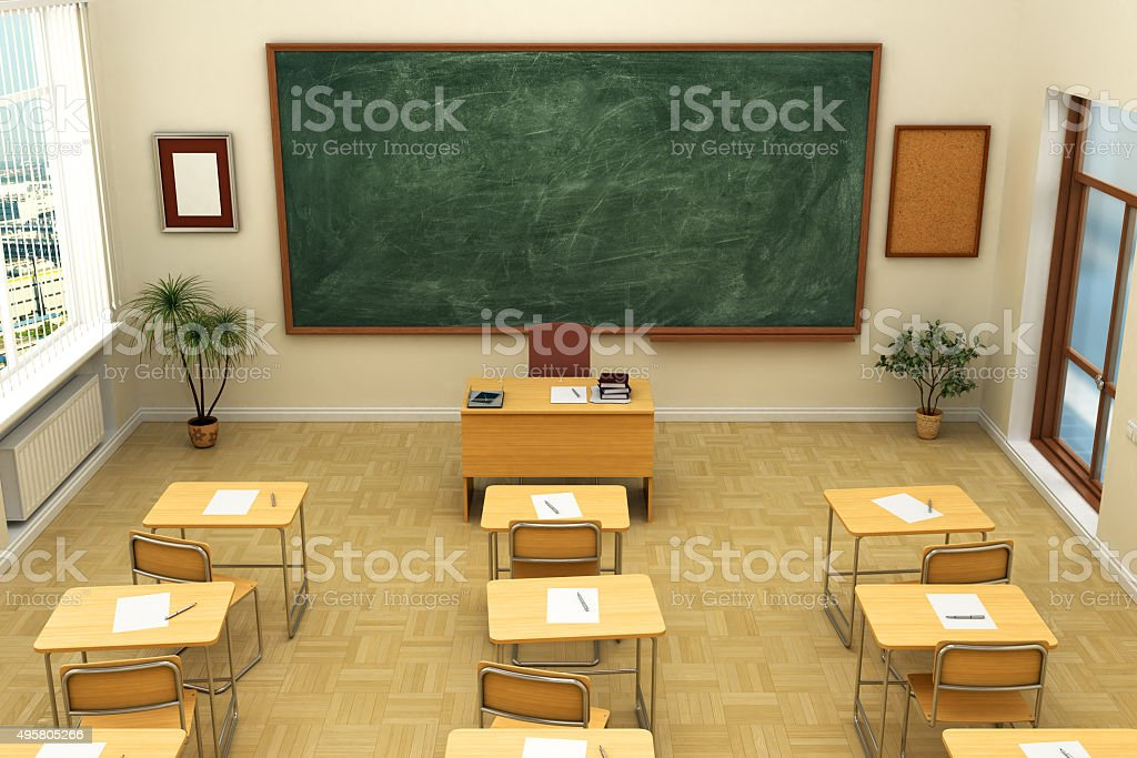 Leeren Schule Klassenzimmer mit Tafel für Schulungen. 3 D Abbildung. – Foto