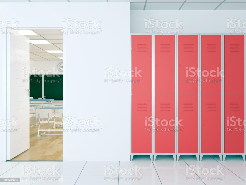 Leere Schule Flur mit Schließfächern Halle – Foto
