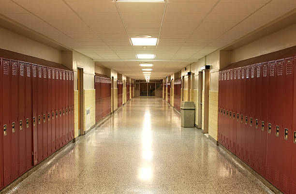 Empty School Hallway stock photo