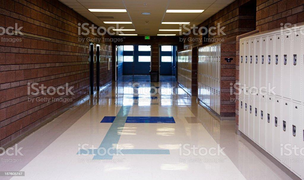 Empty School Hallway stock photo