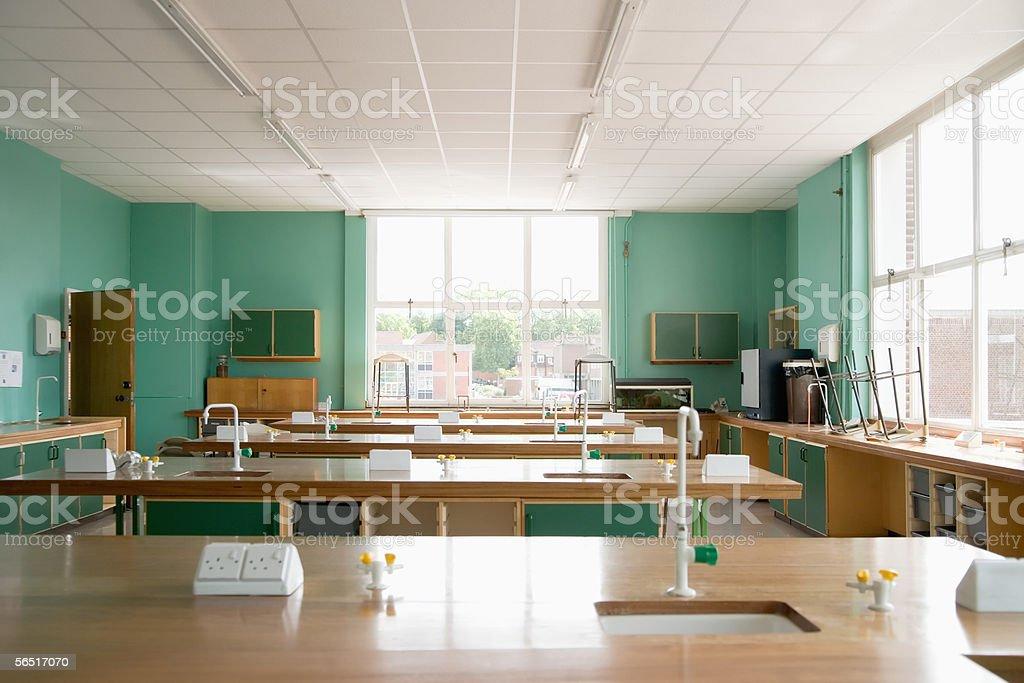 Empty science classroom stock photo