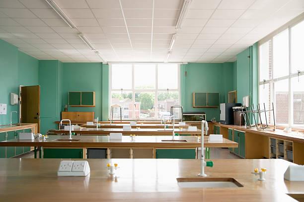 vacío ciencia con montaje tipo aula - clase de ciencias fotografías e imágenes de stock