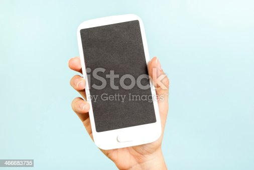 istock Empty screen phone concept on blue background 466683735