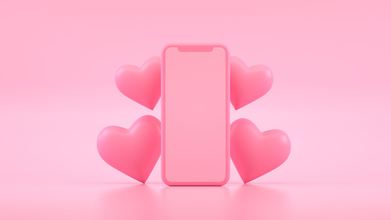 Empty Screen Smart Phone with Heart Shapes, Valentine's Day Concept, Pink color Background