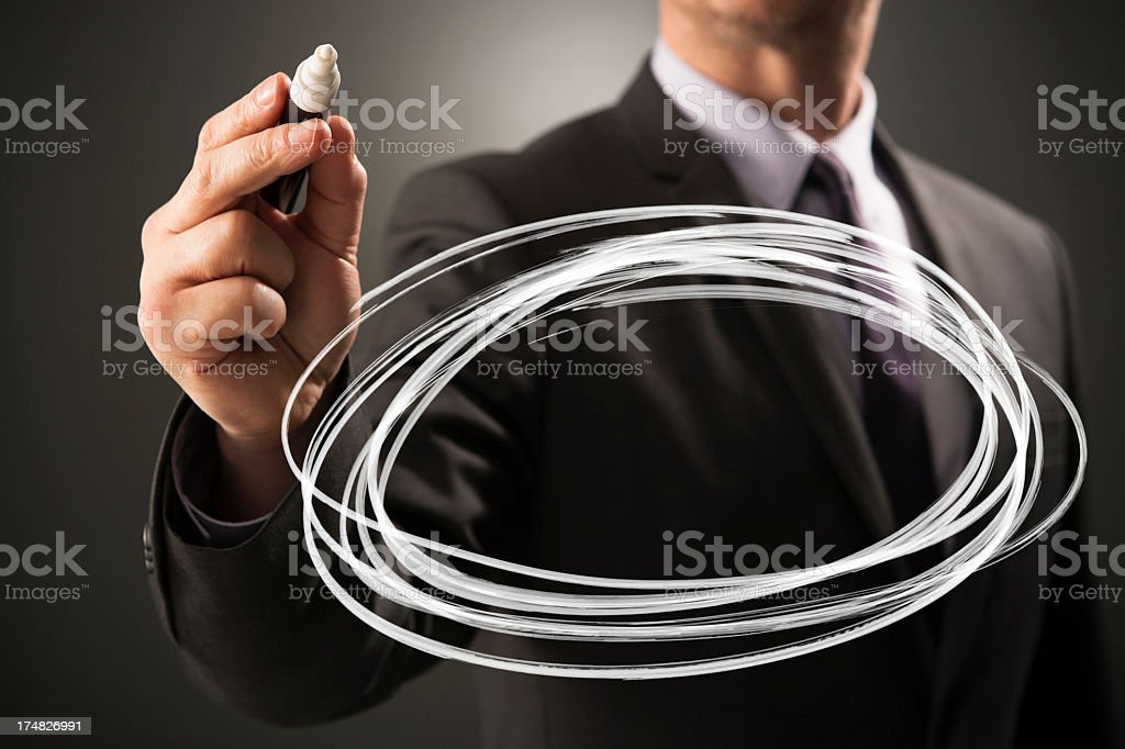 Empty scribbled circle to emphasise royalty-free stock photo