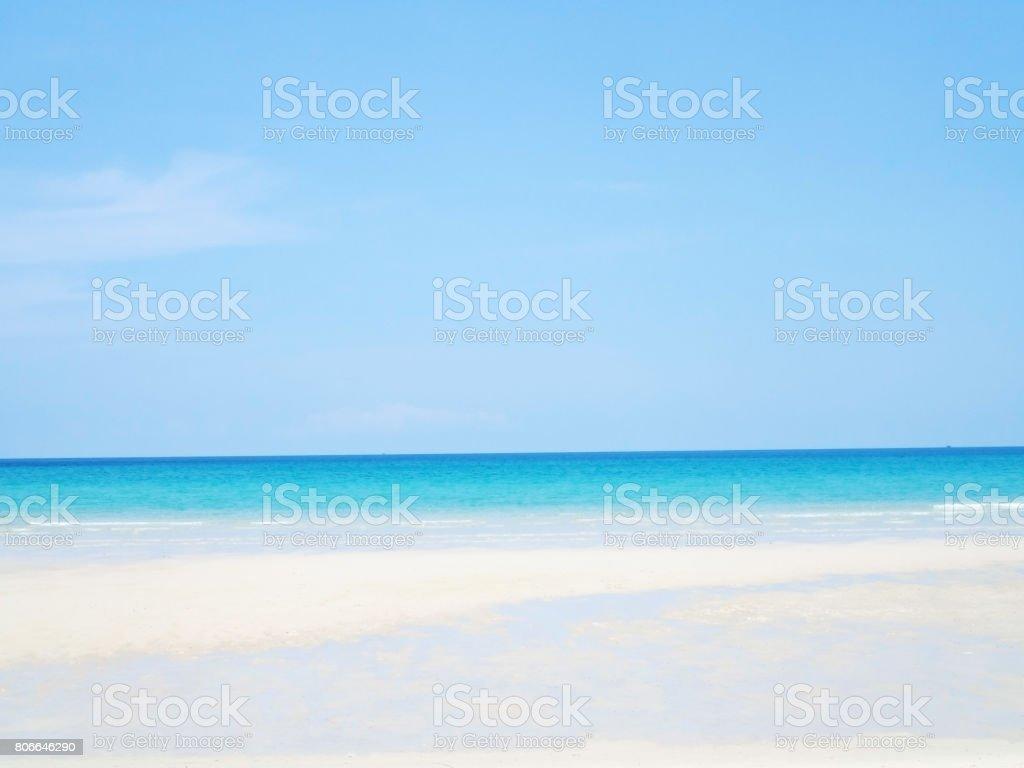 コピー スペースと夏空の海とビーチの背景澄んだ青い空美しい熱帯魚の