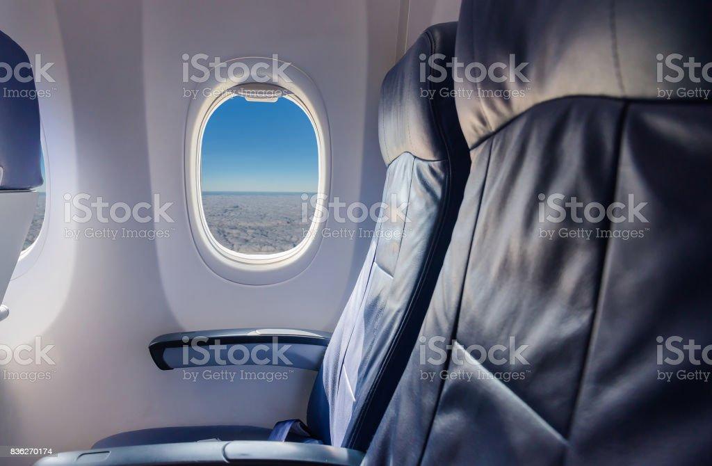 vue de cet avion et fenêtre siège vide à l'intérieur d'un avion - Photo