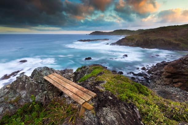 Empty Seat and Coastline View stock photo