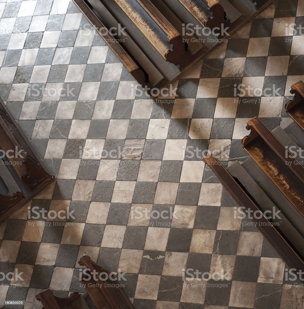 Empty seat rows in church from above. stock photo