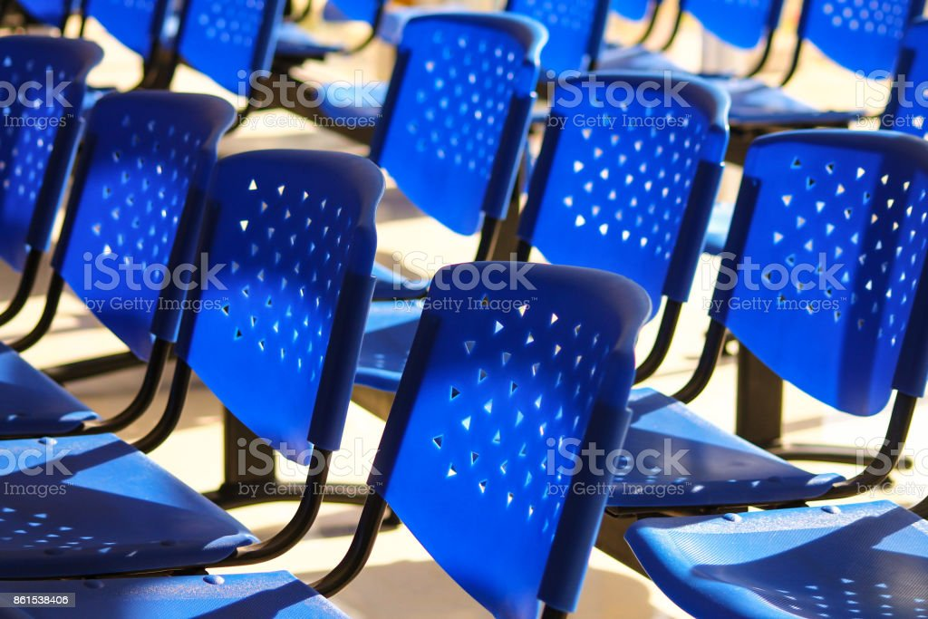 Empty seats at a bus terminal stock photo