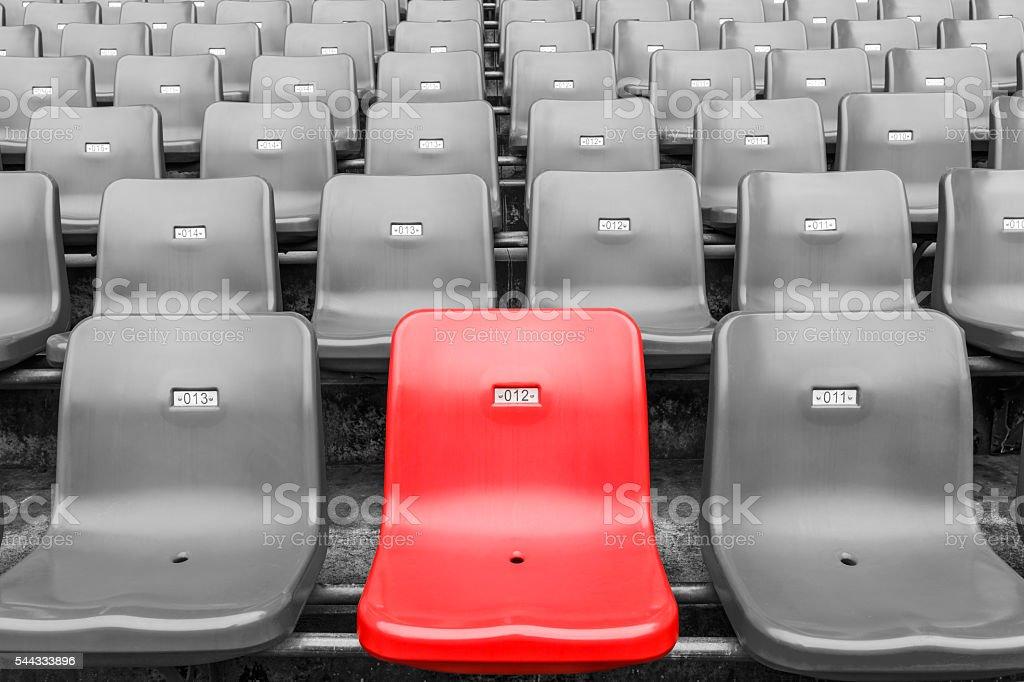 Empty seats at an outdoor stadium stock photo