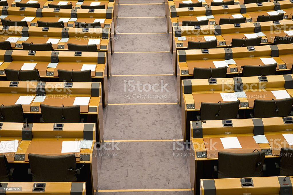 Empty Seats in Assembly Room EU Brussels royalty-free stock photo