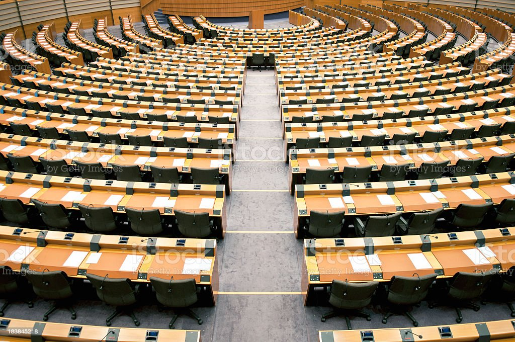 Empty Seats in Assembly Room European Parliament stock photo