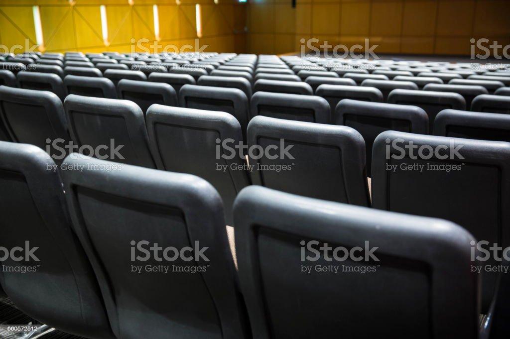 Empty seats in the auditorium.
