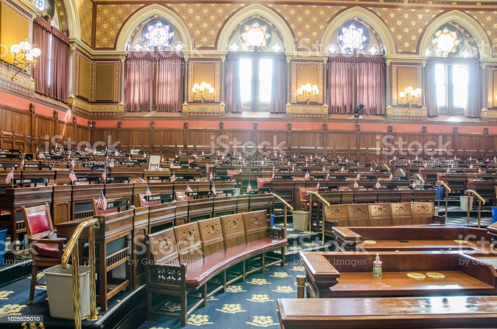 Empty Senate Chamber Of Hartford State Capitol In ...