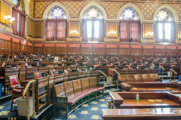 Empty senate chamber of Hartford State Capitol in Connecticut during summer day stock photo