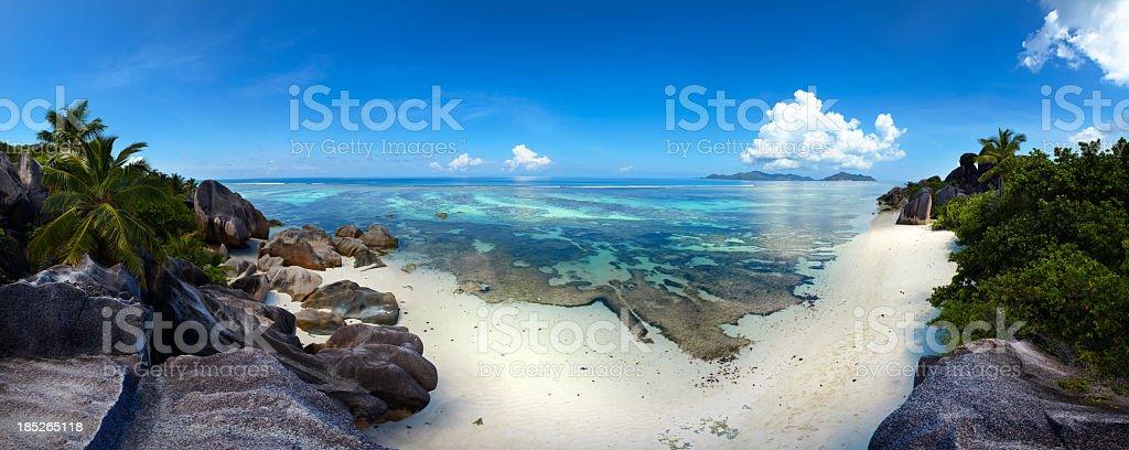 Empty Seychellois beach, very big image royalty-free stock photo