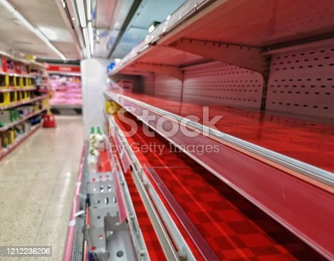 empty red shelf in a grocery store caused by coronavius panic