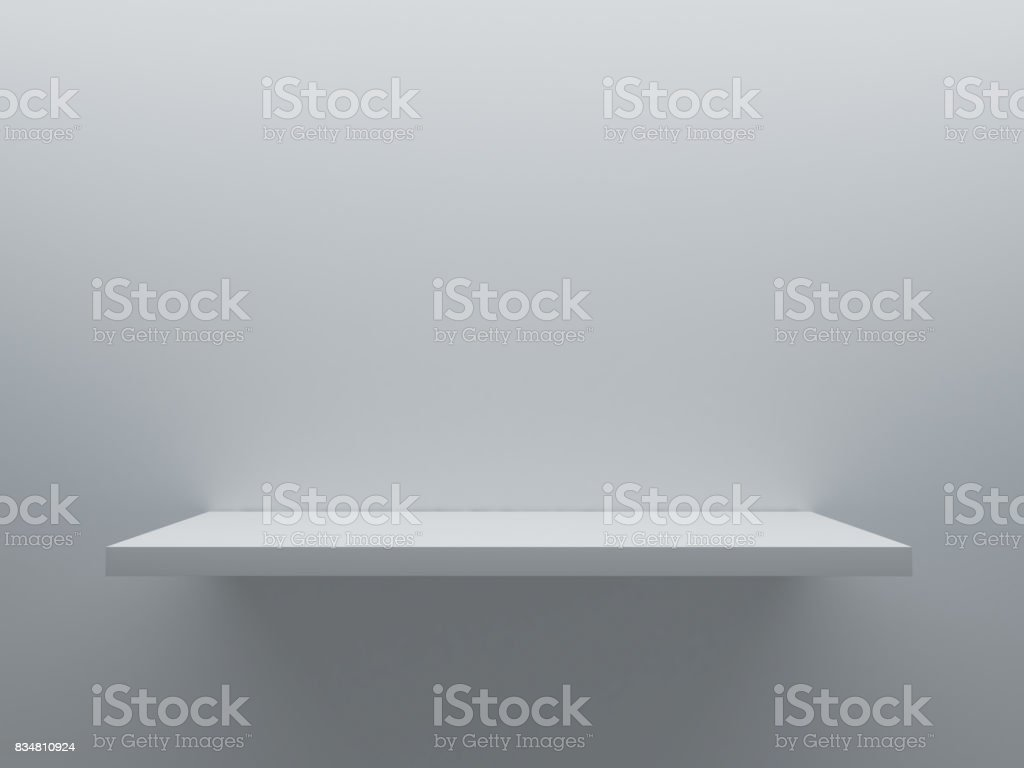 empty shelf stand on the wall stock photo