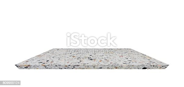 istock Empty Shelf top of Terrazzo floor table or counter  on white background. For product display 809955124
