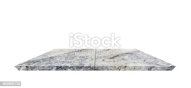 istock Empty Shelf top of Terrazzo floor table or counter  on white background. For product display 809955130