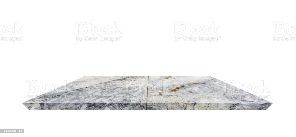 Empty Shelf top of Terrazzo floor table or counter  on white background. For product display stock photo