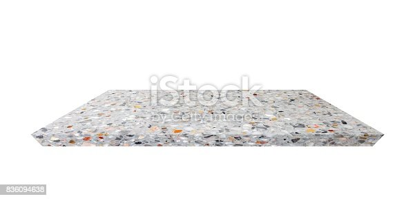 istock Empty Shelf top of Terrazzo floor table or counter  on white background. For product display 836094638