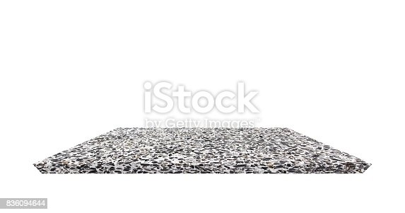 istock Empty Shelf top of Terrazzo floor table or counter  on white background. For product display 836094644