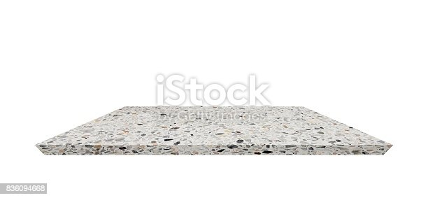 istock Empty Shelf top of Terrazzo floor table or counter  on white background. For product display 836094668