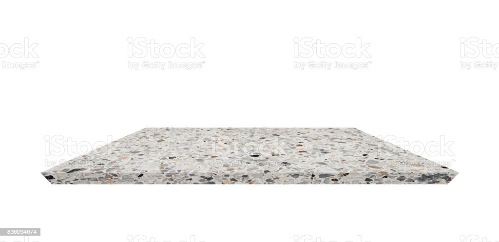 Empty Shelf Top Of Terrazzo Floor Table Or Counter On White Background For Product Display