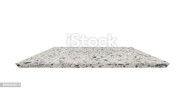 istock Empty Shelf top of Terrazzo floor table or counter  on white background. For product display 836094674