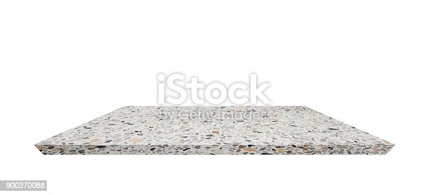 istock Empty Shelf top of Terrazzo floor table or counter  on white background. For product display 900370088