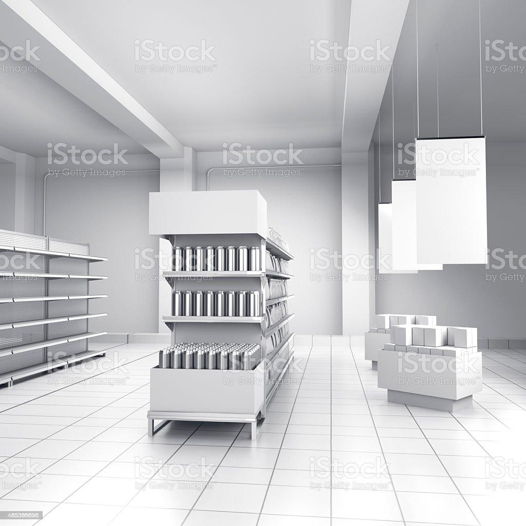 Vacío estantes en una tienda - foto de stock