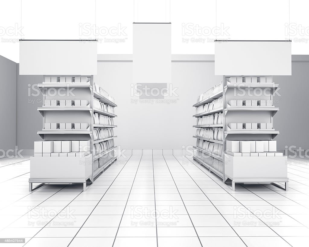 empty shelves in a store stock photo