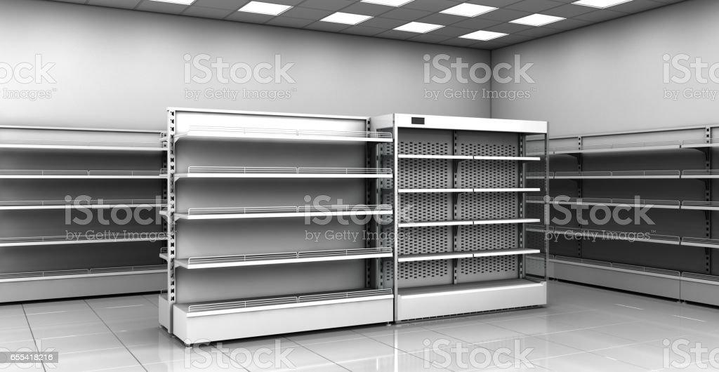Kühlschrank Vitrine : Leere regale vitrinen im laden schaufensterkühlschrank stock