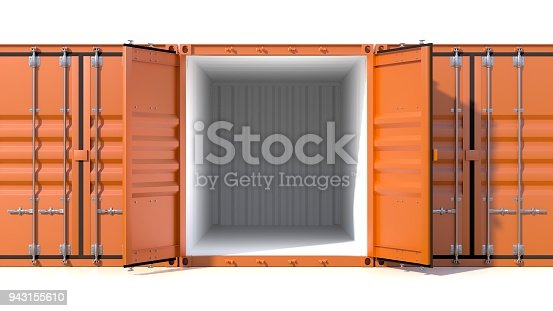 944243850 istock photo Empty ship cargo container side view 20 feet length 943155610