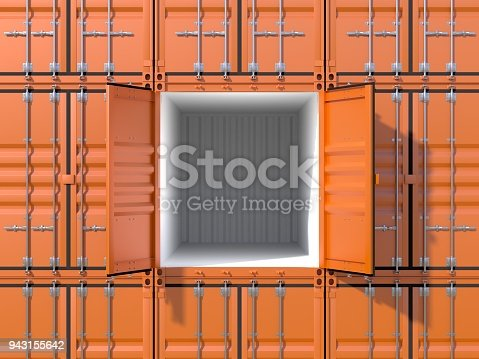 944243850 istock photo Empty ship cargo container side view 20 feet length 943155642