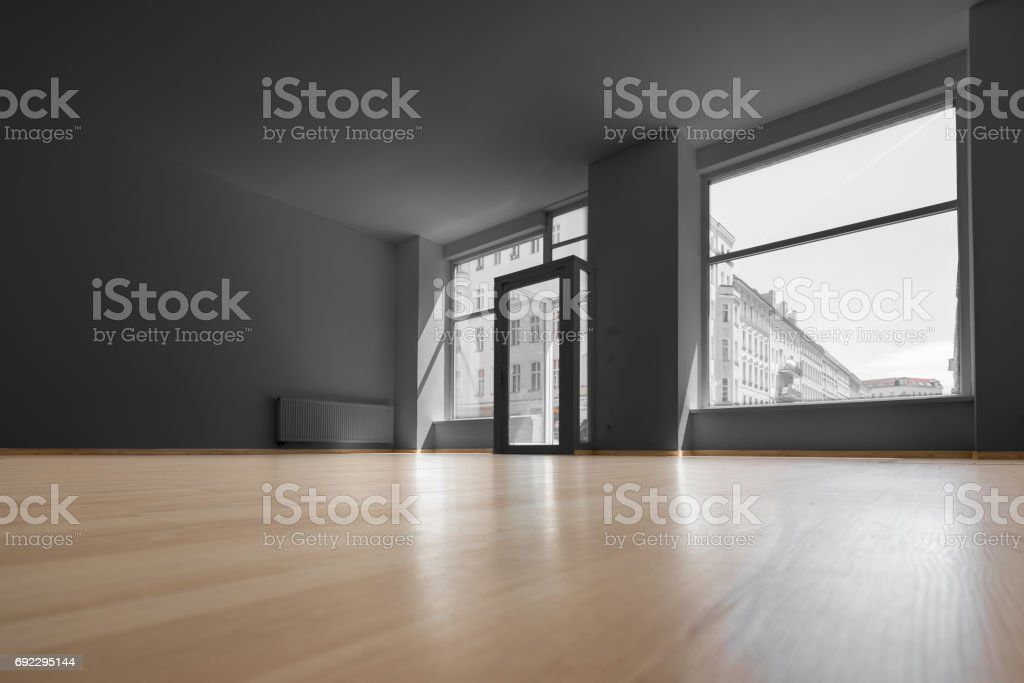 empty shop - vacant room with shopping window stock photo