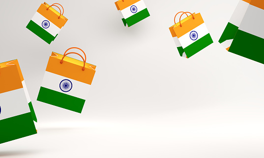 Empty shopping bag color with national flag of India in the studio lighting, copy space text.
