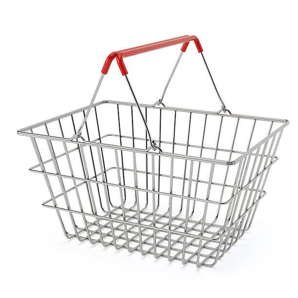 Empty shopping basket isolated on white backround Shopping basket with 3d percent symbol isolated on white background shopping basket stock pictures, royalty-free photos & images