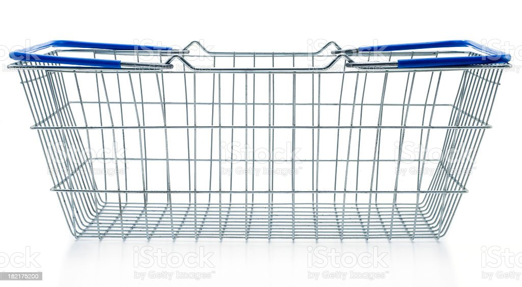 Empty shopping basket metal with blue handles stock photo