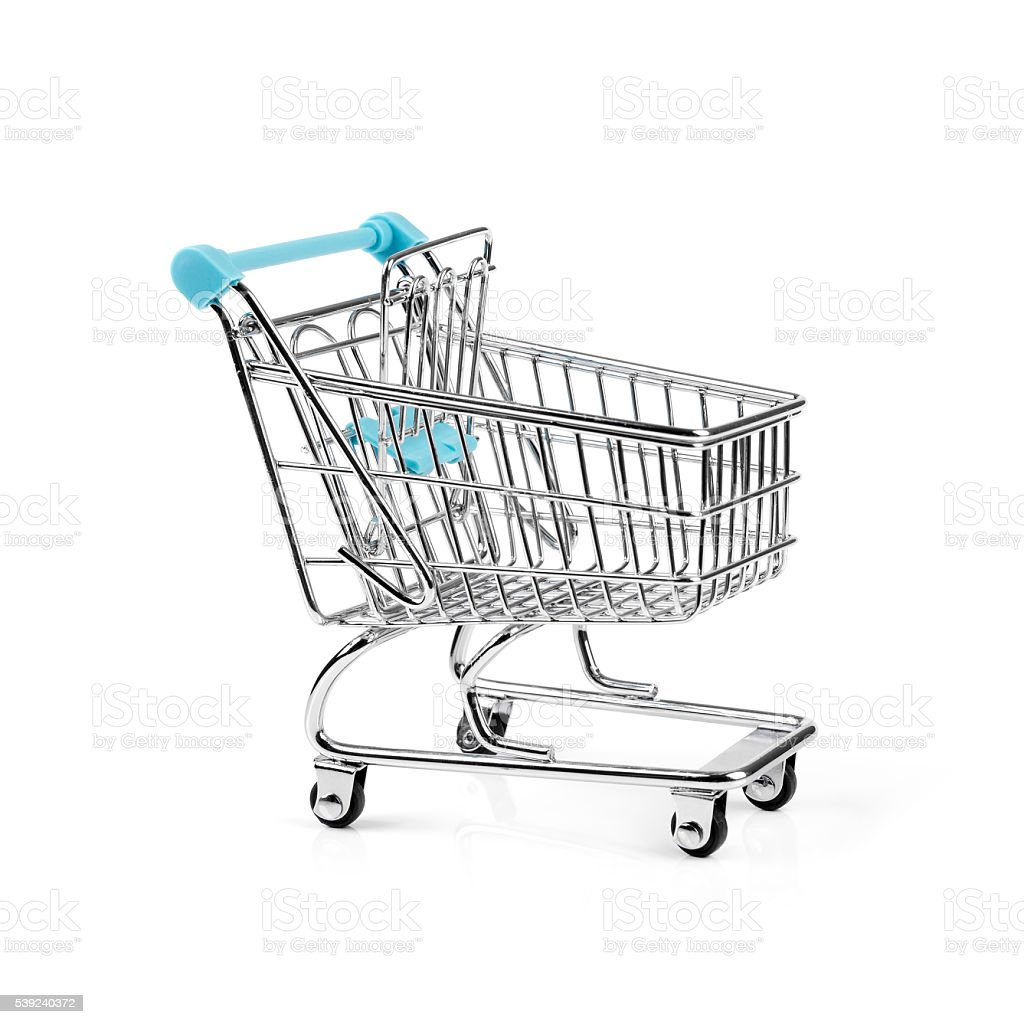 empty shopping cart isolated on white royalty-free stock photo