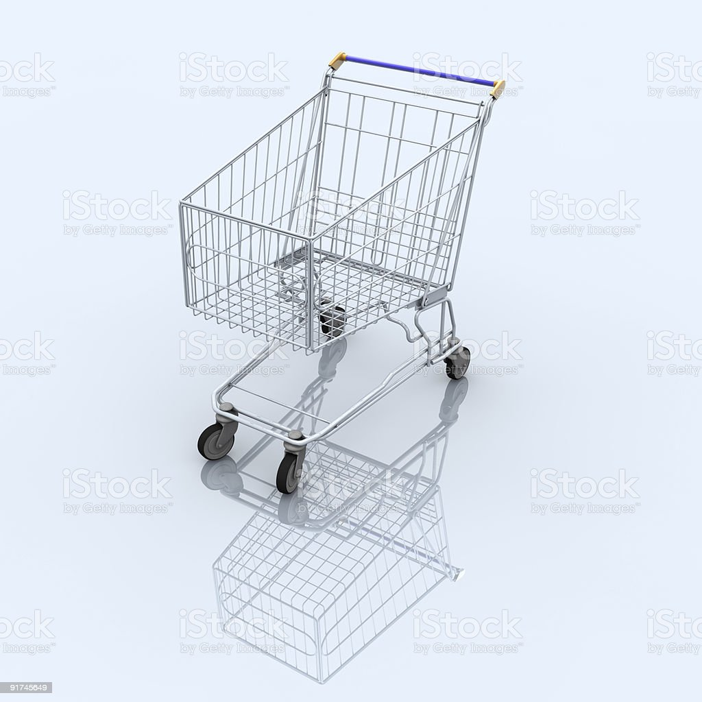 Empty shopping cart on blue reflective background royalty-free stock photo